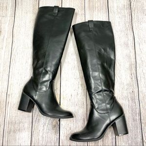 Dexter Black Faux Leather Knee High Boots